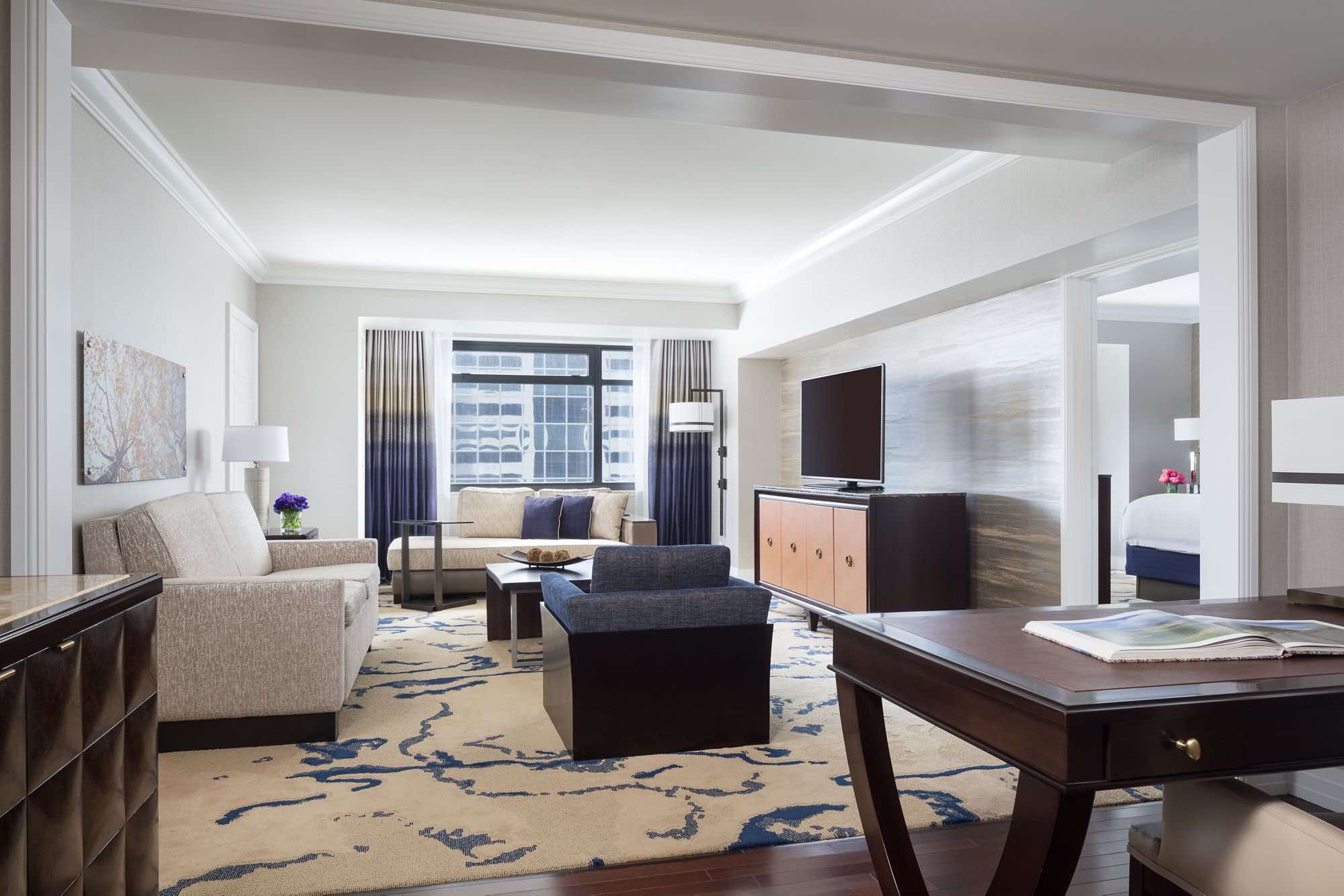 The Ritz-Carlton delluxe suite with living area of top luxury hotels in Denver