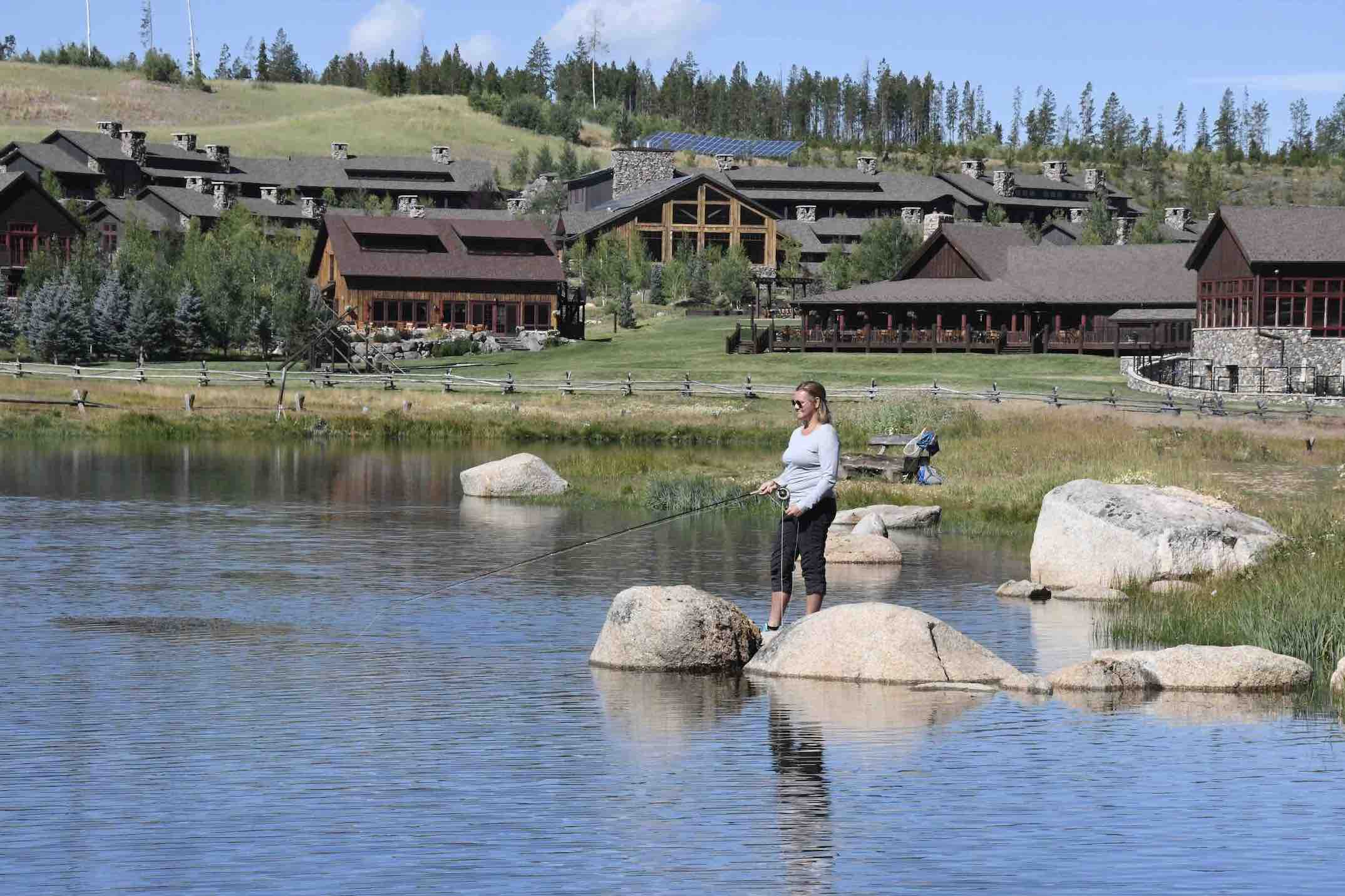 Flyfishing at Devils Thumb Ranch with woman and rod